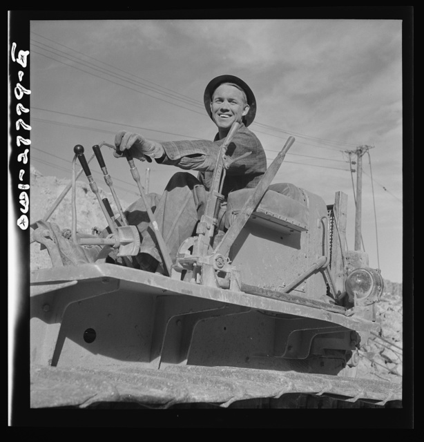 Morenci, Arizona. Bulldozer operator at one of the open-pit copper mines of the Phelps Dodge mining corporation