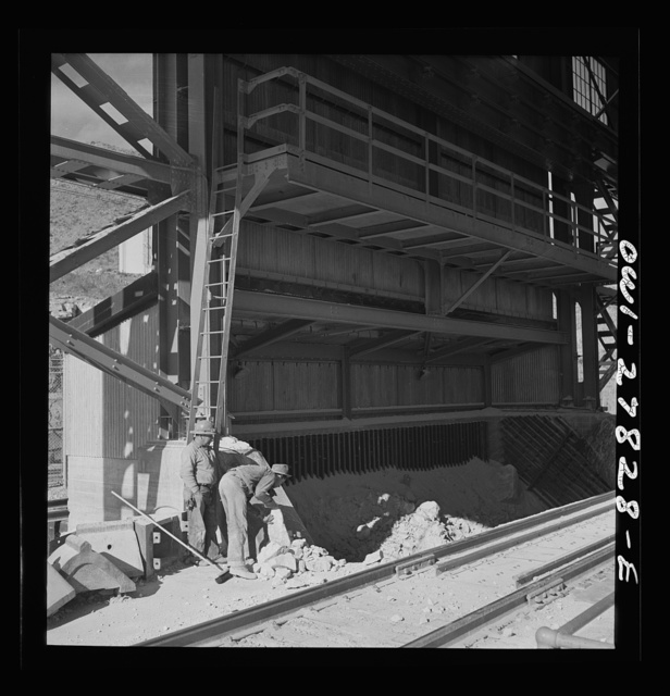 Morenci, Arizona. Entrance to the copper concentrator of the Phelps Dodge mining corporation where ore trains transport copper ore from the open-pit mine