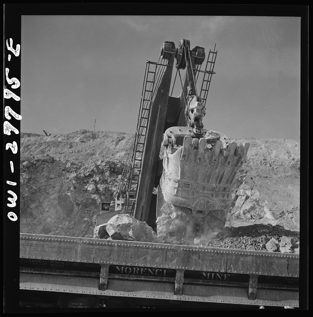 Morenci, Arizona. Loading copper ore from an open-pit copper mine