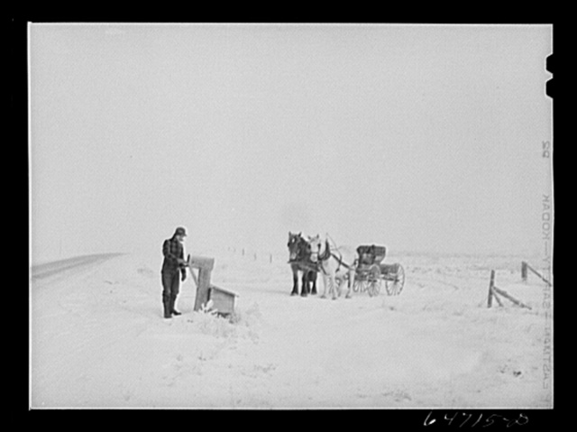 Morton County, North Dakota. Getting the morning mail at eighteen below zero