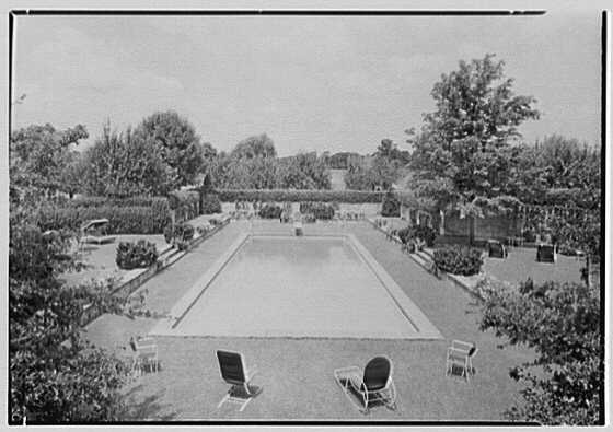 Mr. and Mrs. Joseph S. Graydon, Cobble Court, residence at Drake and Brill Rds., Cincinnati, Ohio. Looking down pool