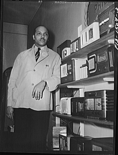 Mr. William H. Green, owner of radio and electrical store on 47th Street near Indiana Avenue, Chicago, Illinois. Mr. Green has been in the radio business for nine years in the same store