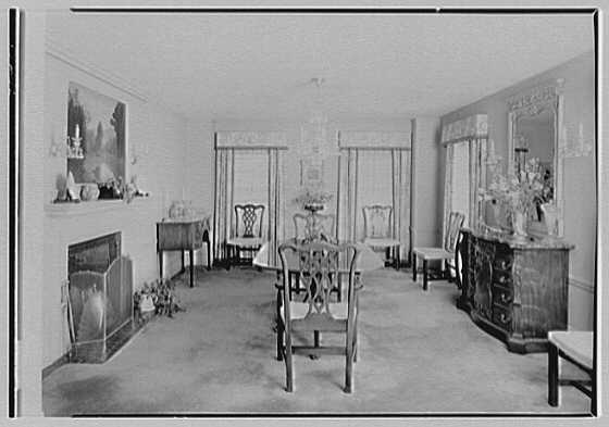 Mrs. Charles R. Moeser, Furlough Farm, residence in Bedford Hills, New York. Dining room
