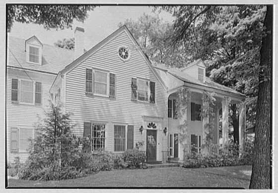 Mrs. Charles R. Moeser, Furlough Farm, residence in Bedford Hills, New York. Entrance facade
