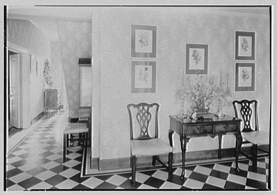 Mrs. Charles R. Moeser, Furlough Farm, residence in Bedford Hills, New York. Hall