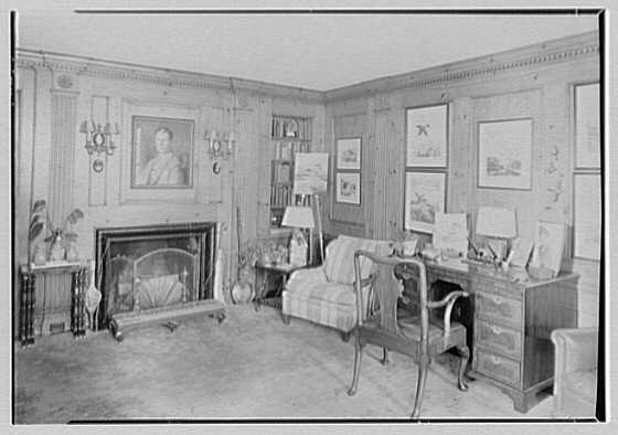 Mrs. Charles R. Moeser, Furlough Farm, residence in Bedford Hills, New York. Library