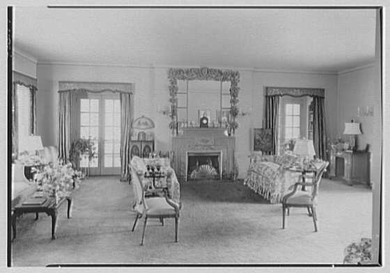 Mrs. Charles R. Moeser, Furlough Farm, residence in Bedford Hills, New York. Living room, to fireplace