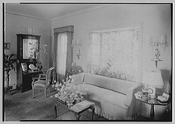 Mrs. Charles R. Moeser, Furlough Farm, residence in Bedford Hills, New York. Living room, to bay window