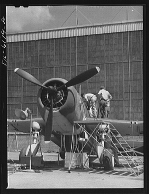 """Nashville, Tennessee. Final assembly of the """"Vengeance"""" bomber at the Vultee Aircraft Corporation plant"""