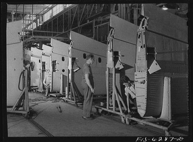 Nashville, Tennessee. In the wing sub assembly section. Vultee Aircraft Corporation plant
