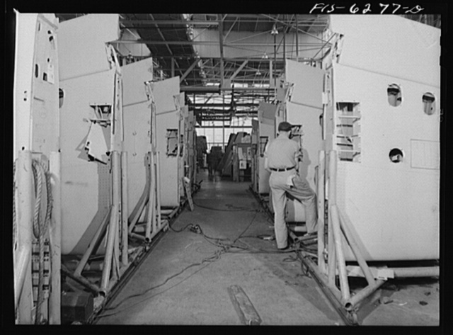 Nashville, Tennessee. In the wing sub assembly. Vultee Aircraft Corporation plant