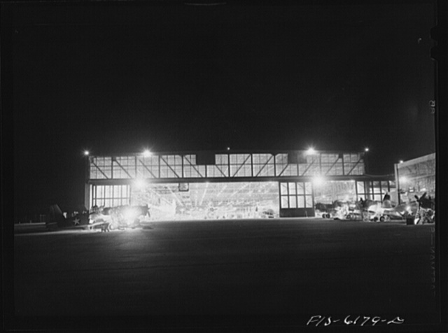 Nashville, Tennessee. Night view of the final assembly. Vultee Aircraft Corporation plant