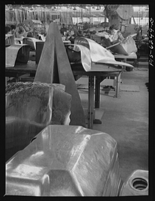 Nashville, Tennessee. Riveting and drilling fuselage part. Vultee Aircraft Corporation plant