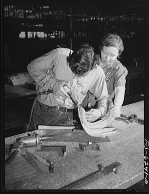 Nashville, Tennessee. Riveting and drilling fuselage parts. Vultee Aircraft Corporation plant