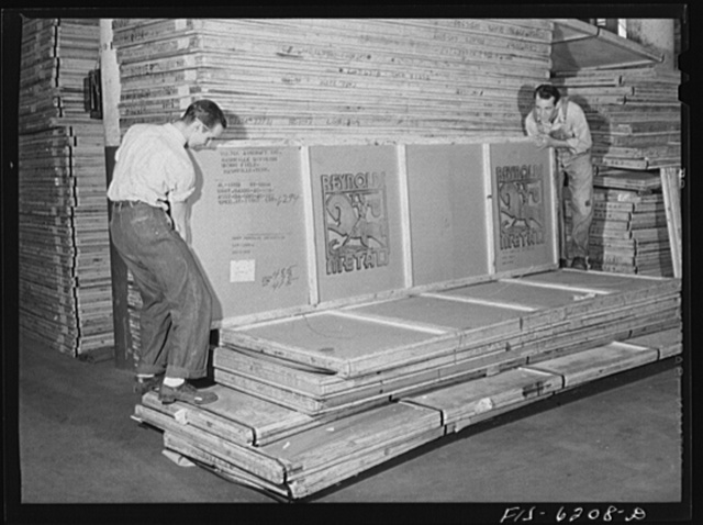 Nashville, Tennessee. Sheet aluminum being delivered in the stock room. Vultee Aircraft Corporation plant