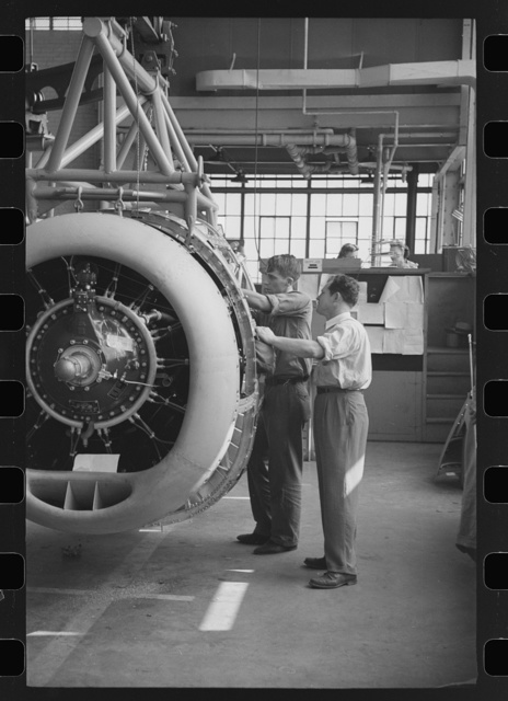 Nashville, Tennessee. Vultee Aircraft Company. In the engine installation section