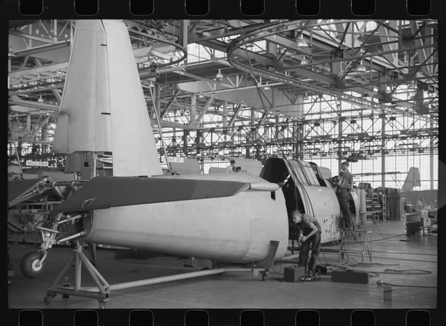 Nashville, Tennessee. Vultee Aircraft Company. In the fuselage assembly section