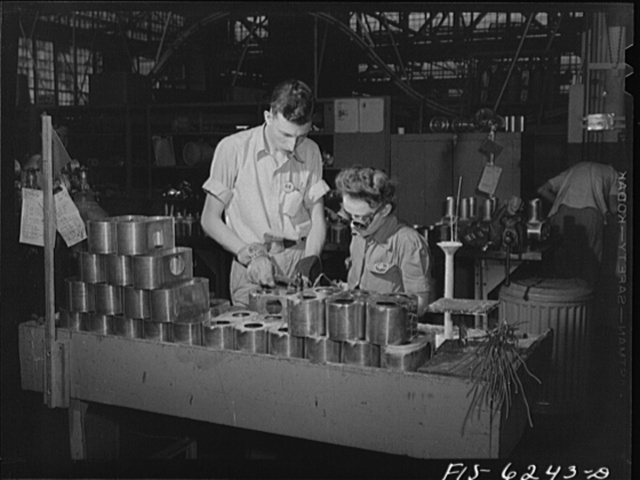 Nashville, Tennessee. Welding fuel pump parts in the Vultee Aircraft Corporation plant