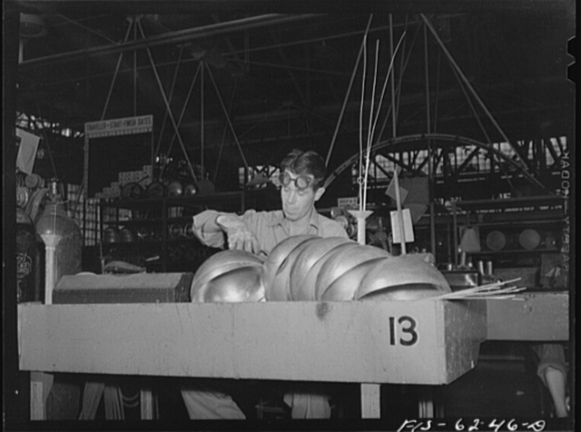 Nashville, Tennessee. Welding parts for fuel tanks for a bomber in the Vultee Aircraft Corporation plant