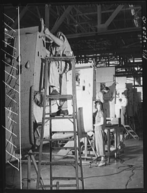 Nashville, Tennessee. Working on wing sections. Vultee Aircraft Corporation plant