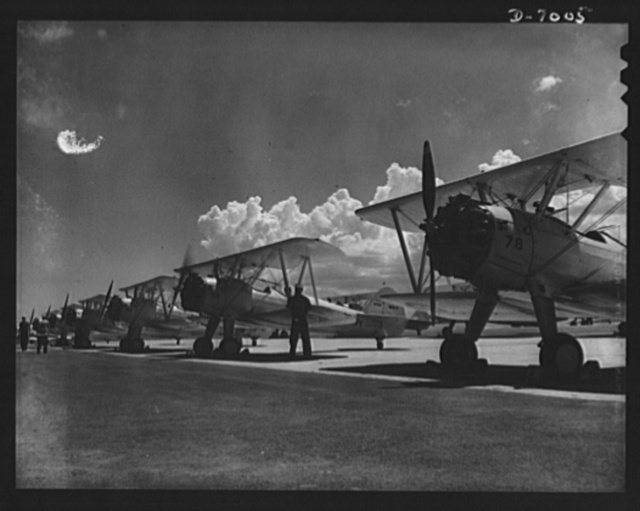 Naval air base, Corpus Christi, Texas.  Navy N2S primary land plane, ready for afternoon flight trips at the naval air base in Corpus Christi, Texas. These ships are completely reconditioned, after fulfilling their service schedules by civil service employees at the base