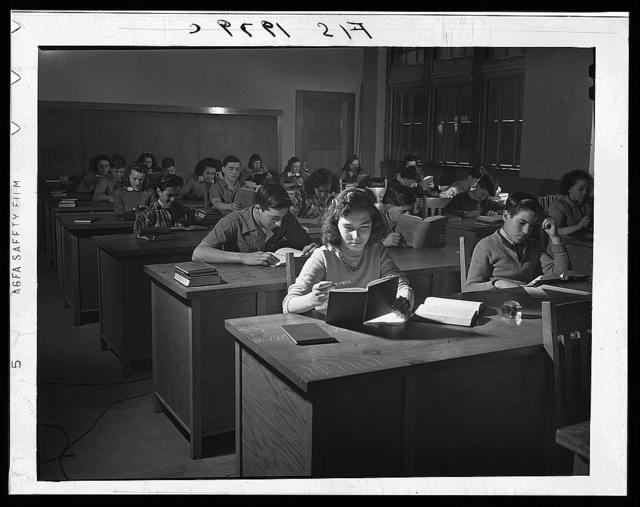 New Bedford, Massachusetts. Manuel Marcio's daughter in business class in high school