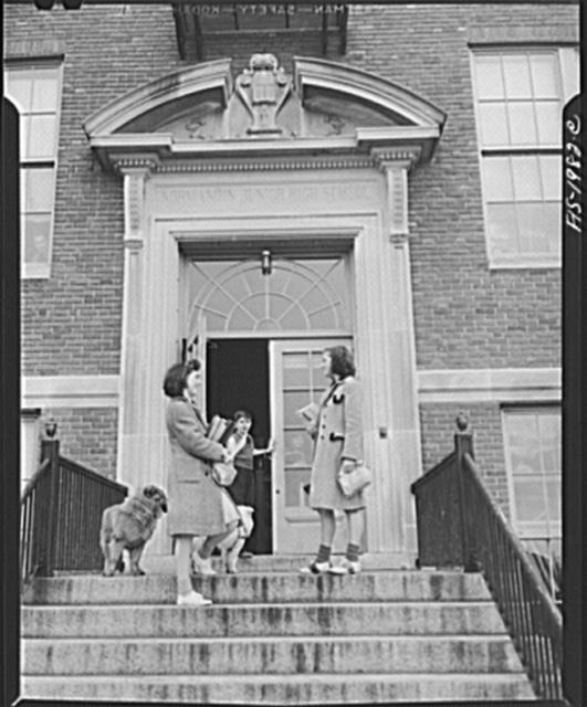New Bedford, Massachusetts. Manuel Marcio's daughter on her way to school