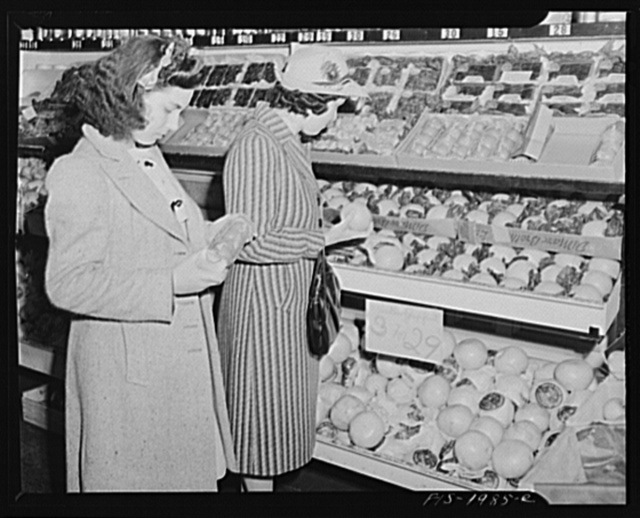 New Bedford, Massachusetts. Mrs. Marcio and her daughter shopping