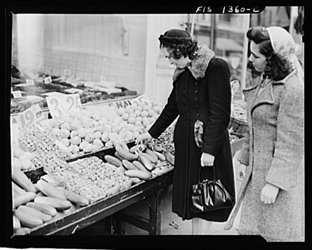 New Bedford, Massachusetts. Wife and daughter of Portuguese house painter out shopping