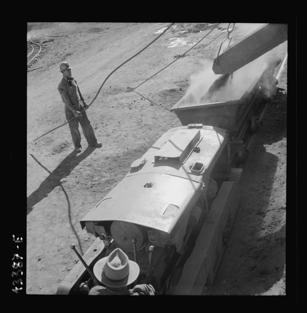 New Idria, California. A mining car used at the workings of the New Idria Quicksilver Mining Company to haul cinnabar, an ore containing mercury