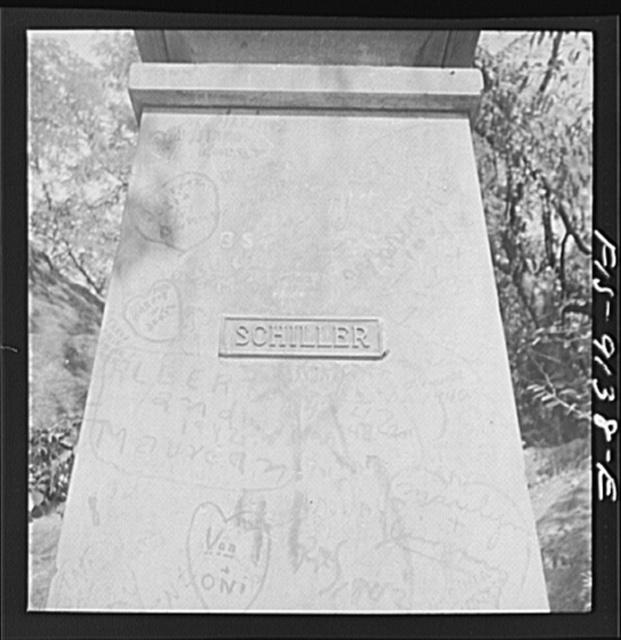 New York, New York. Base of the monument ot the German poet Schiller in Central Park
