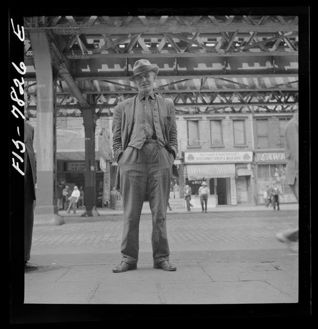 New York, New York. Bum who claimed to be Scotch comedian, at Third Avenue and 14th Street