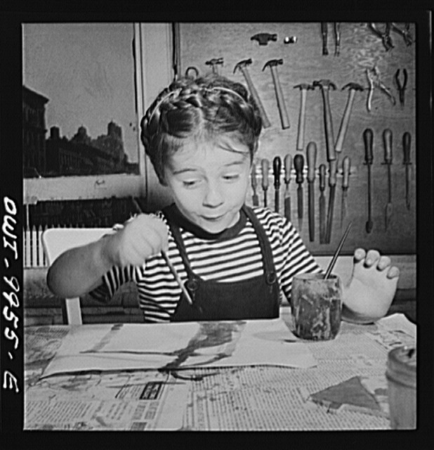 New York, New York. Children's Colony, a school for refugee children administered by a Viennese. French refugee child painting
