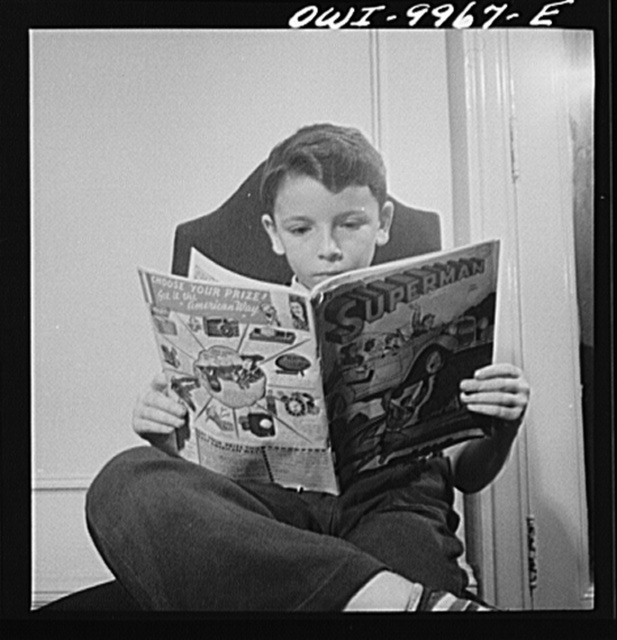 New York, New York. Children's Colony, a school for refugee children administered by a Viennese. German refugee child, a devotee of Superman
