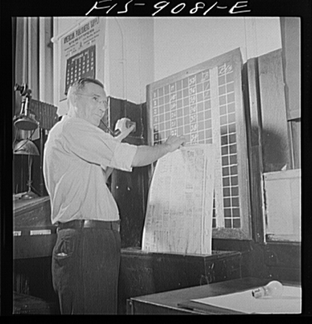 New York, New York. Composing room of the New York Times newspaper. Completed mats are checked on board by page, then sent down chute to stereotype room
