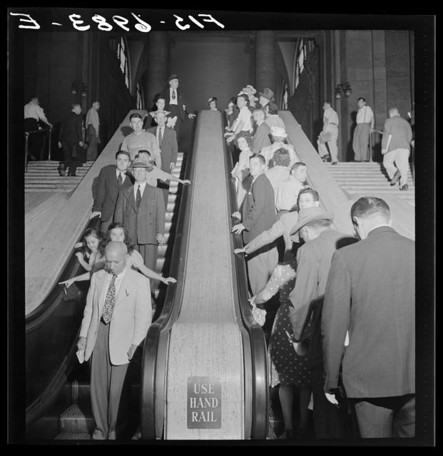 New York, New York. Escalators at the Pennsylvania railroad station