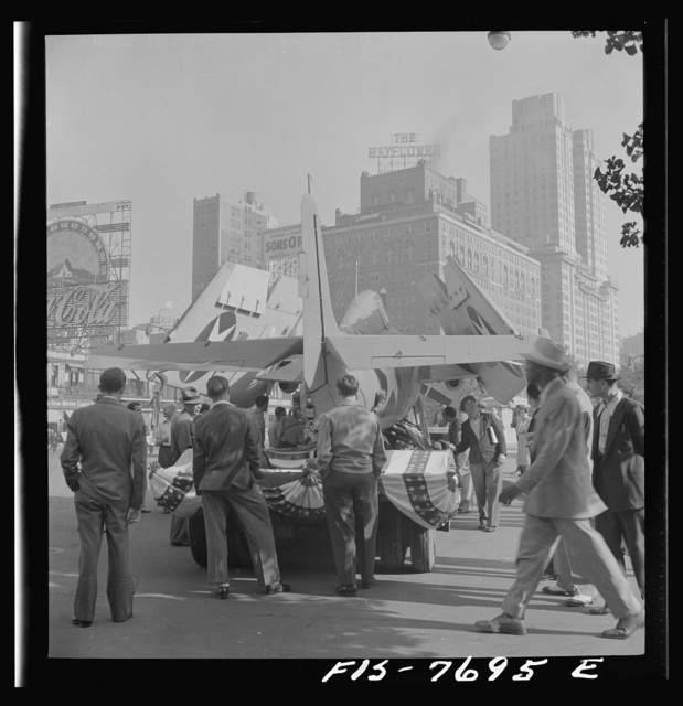 New York, New York. Grumman Wildcat airplane exhibited at Columbus Circle for bond selling purposes