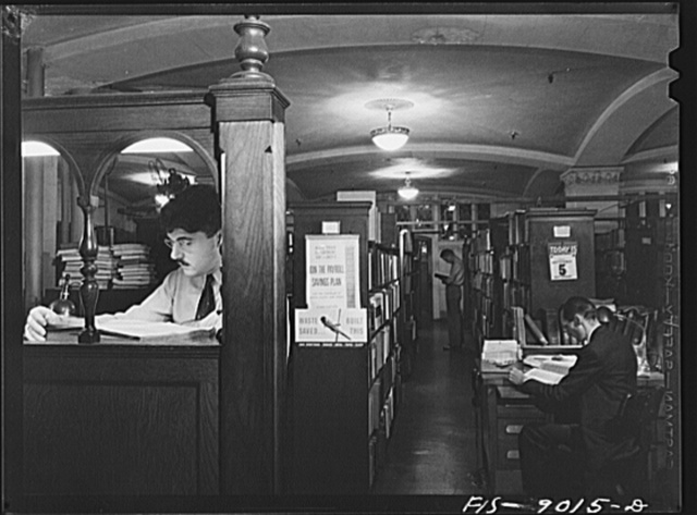 """New York, New York. Library of the New York Times newspaper. Editors and writers can look up every conceivable subject and get information not available in the """"morgue"""""""