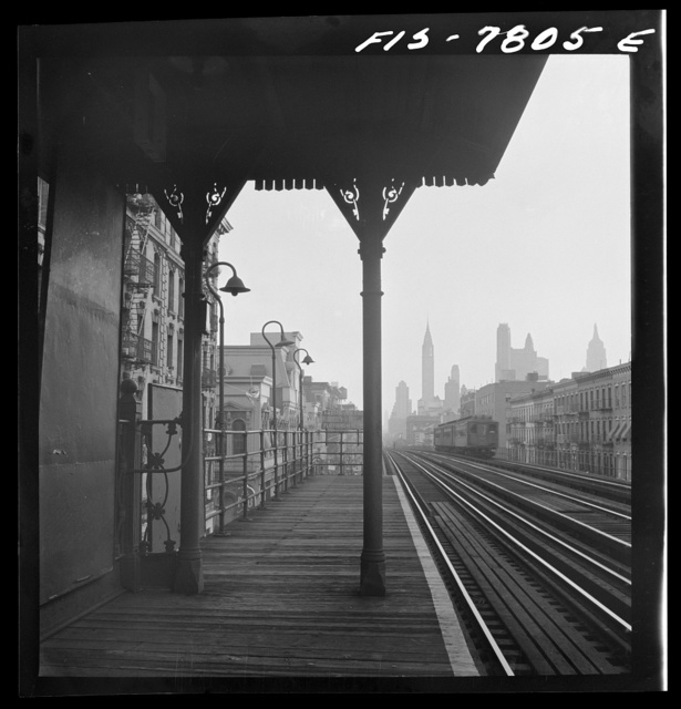 """New York, New York. Looking downtown from the Third Avenue elevated railway in the """"Fifties"""""""