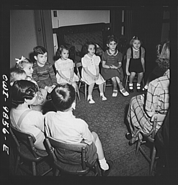 New York, New York. Marie's Sunday school class singing a hymn. Although most of the students and teachers are Czech-American, they conduct school in English