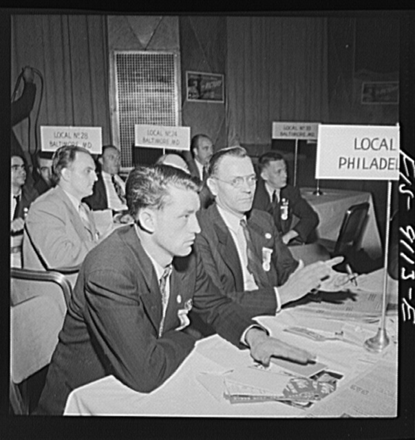 New York, New York. Marine and shipbuilding convention. Delegates listening to speeches