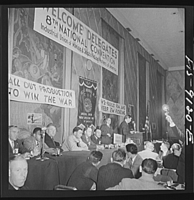 New York, New York. Marine and shipbuilding workers' convention. Speakers' table