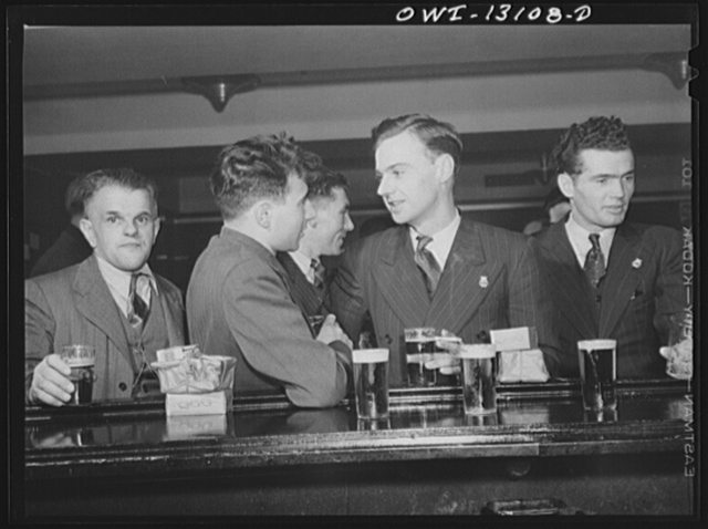 New York, New York. Merchant seamen's Christmas party at the Andrew Feruseth Club on Christmas Day. At the bar