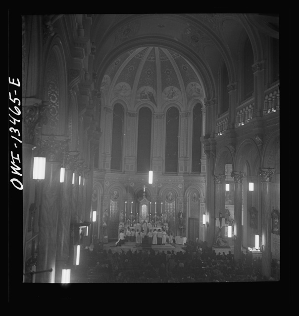 New York, New York. Midnight mass on Christmas Eve in Saint Dominick's church on Sullivan Street