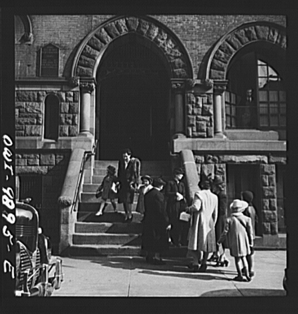 New York, New York. Mrs. Winn [or Wynn], a Czech-American, calling her daughters, Janet and Marie, after Sunday school at the Jan Huss church