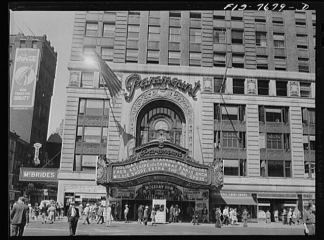 New York, New York. Paramount Theater at Times Square, showing bond selling booth