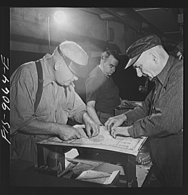 New York, New York. Stereotype room of the New York Times newspaper. Packing mats with felt to obtain clean-cut casting