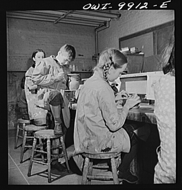 New York, New York. The Lincoln School of Teachers' College, Columbia University. Sixth-grade pupils making pottery influenced by Latin American design. Part of a general Latin American project