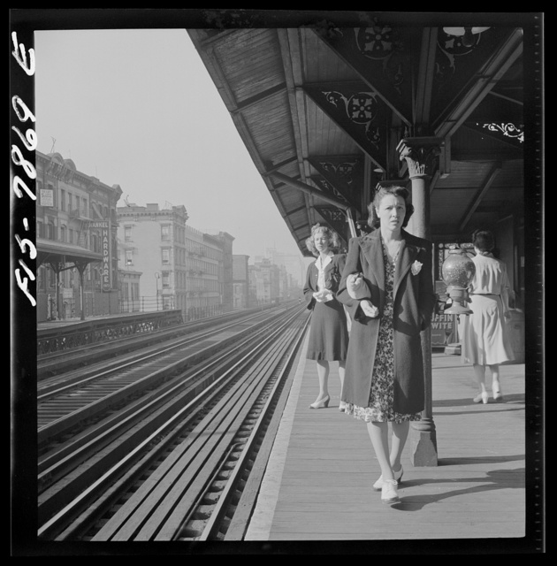 "New York, New York. Waiting for the Third Avenue elevated railway in the ""Sixties"" about 8:45 a.m."