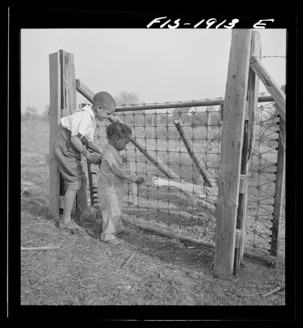 Newport News, Virginia. Two children of a Negro shipyard worker at his rural home